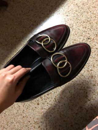 🚚 ASOS Maroon leather ring loafers