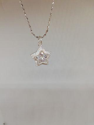 925 silver star crystal necklace