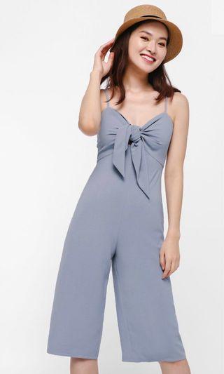 Tie front cutout jumpsuit
