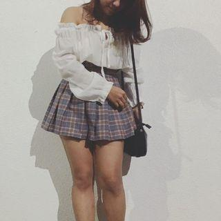 格子百褶裙
