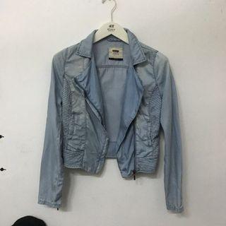 Bershka Women Denim Light Blue Jacket