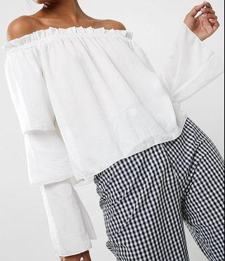 MissGuided Tiered Sleeve Bardot Blouse