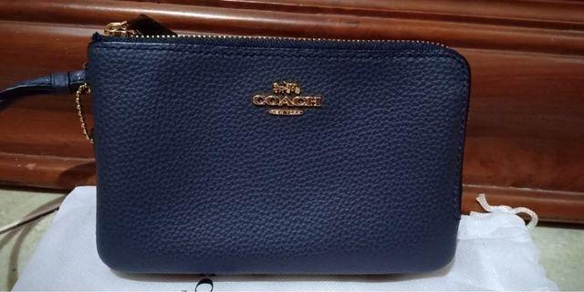 Coach wallet dompet blue biru new
