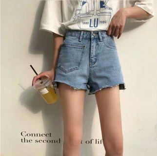 (PO) Ripped Front Pocket Denim Shorts