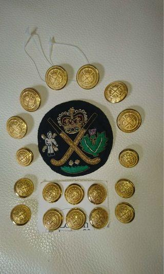2 sets of vintage unused English gold blazer buttons and a gold sewn club badge