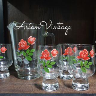 Set of 5 June Rose Printed Glassware + 1 Water Pitcher
