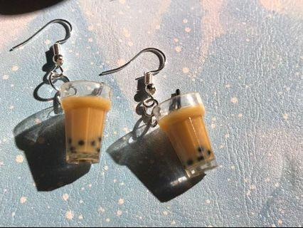 # pearl milk tea bubbletea series Korean style cute quirky style unique ulzzang cute earrings trendy in trend