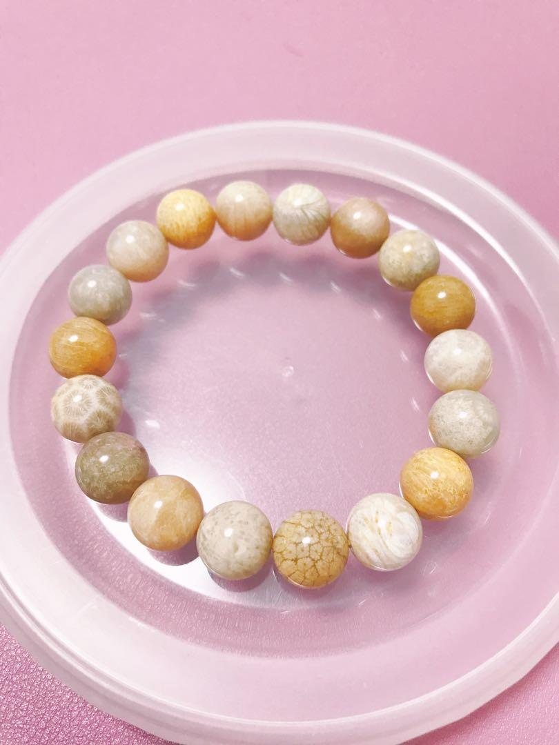 珊瑚玉圓珠手鏈手鍊 手串16cm 11mm 多寶 粒粒珠都有花紋