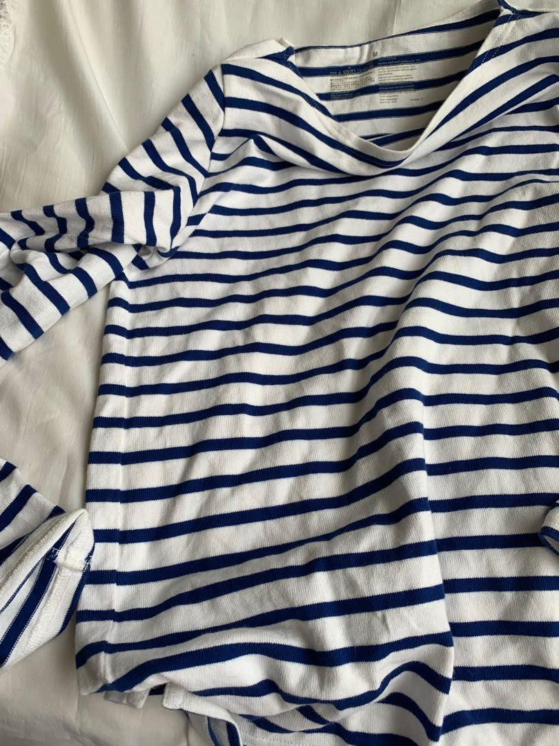 無印良品 藍白條紋M