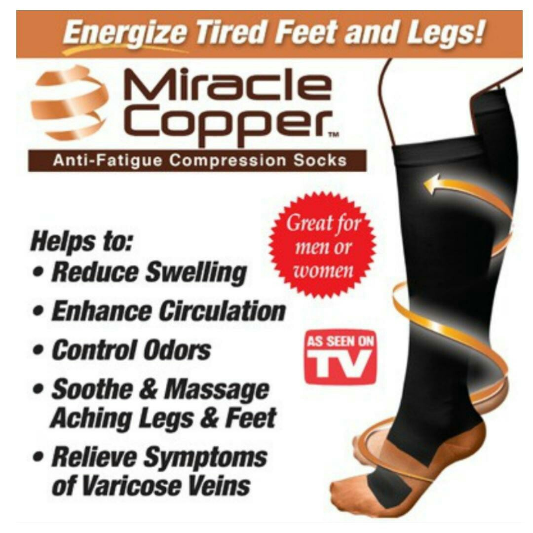 40c8b19cf7 A pair of Miracle Copper Anti-Fatigue Compression Socks (As Seen On ...