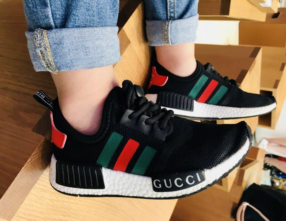 sports shoes 8b467 f9afe Adidas Kids NMD Gucci (Black) Shoes , Babies & Kids on Carousell