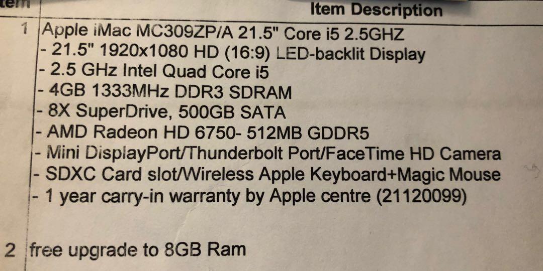 "Apple iMac 21.5"" Core i5 2.5GHZ"