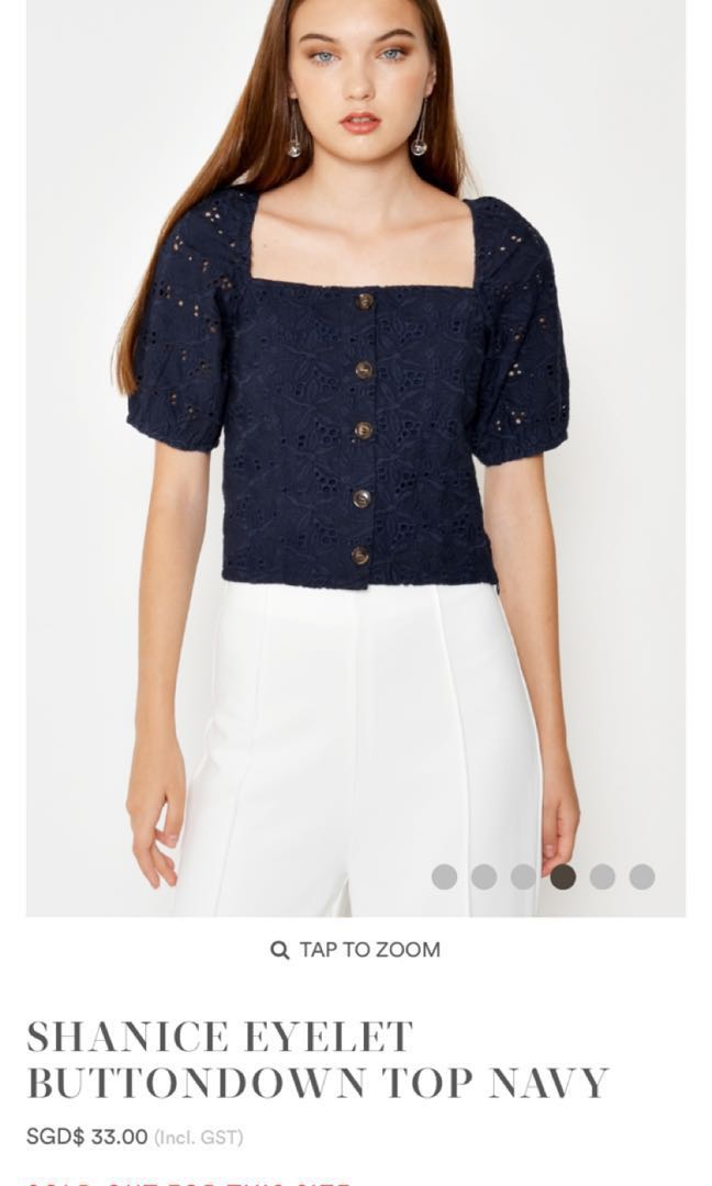 145a0857ec07a5 BN Love and Bravery Shanice Eyelet Buttondown Top (Navy), Luxury ...