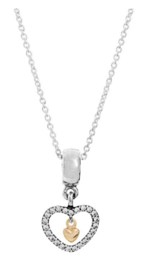 ac084f3bedf90 BN AUTHENTIC Pandora 14K Gold in Silver heart necklace pendant Charm ...