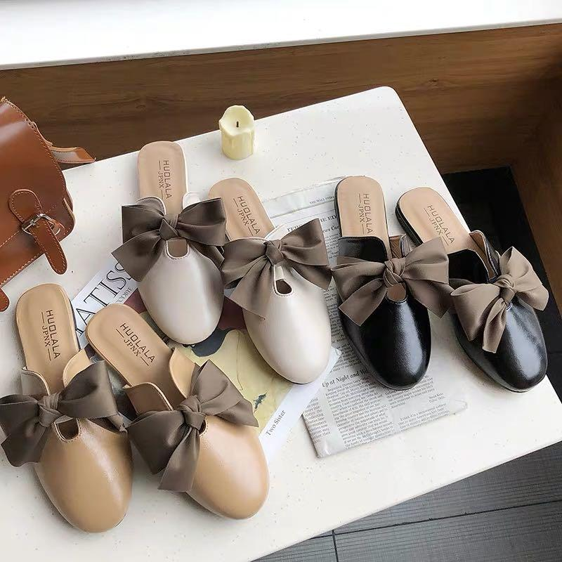 Brown Lace Ribbon Bow Tie Matte Leather Slipped On Loafers