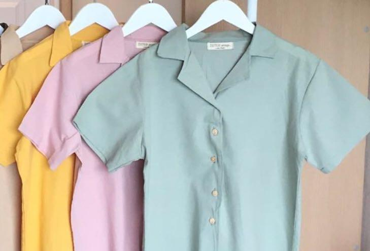 Button Down Wrey Collared Blouse