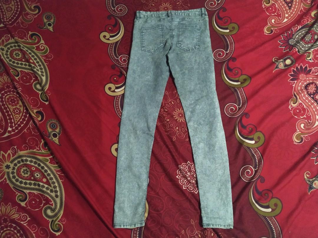 celana jeans acid wash grey by H&M soft denim original
