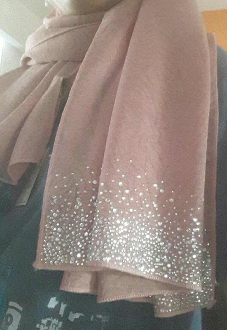 Chiffon cerep rhinestones shawl