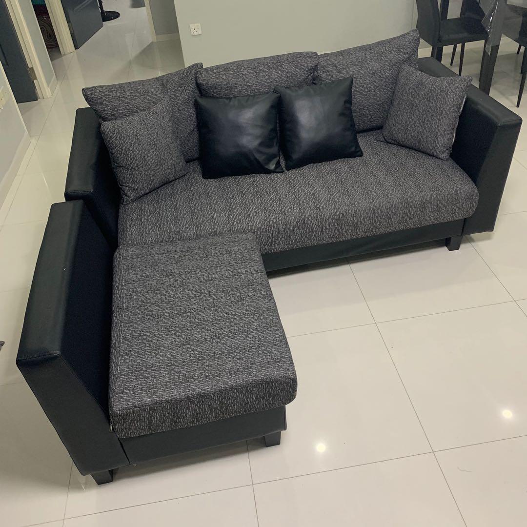 Corner Sofa 3seater + 1 (Black Grey), Furniture, Sofas on Carousell