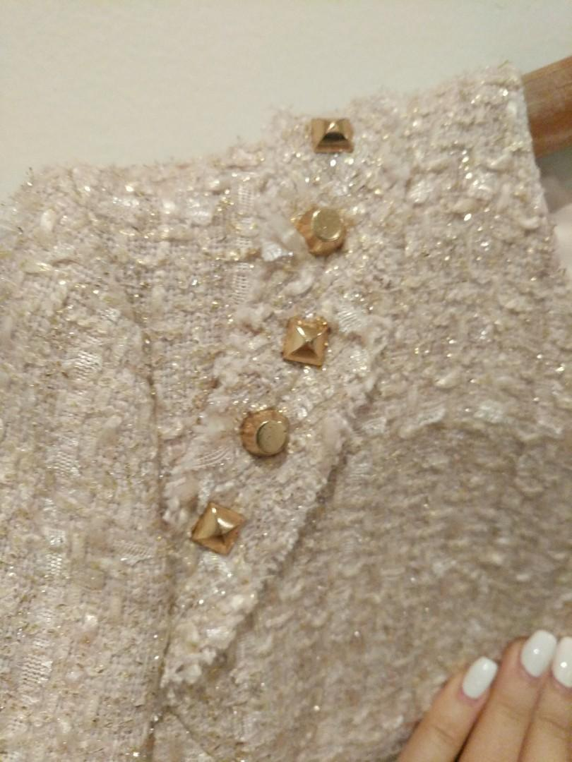 Forever New 8 Blush Gold Embellished Jacket