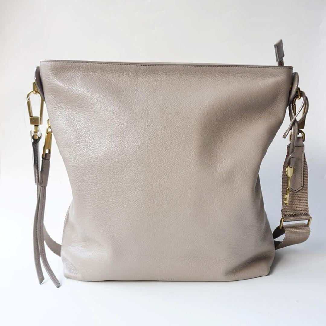 Fossil Maya Small Hobo Light Taupe Size 27x29 cm