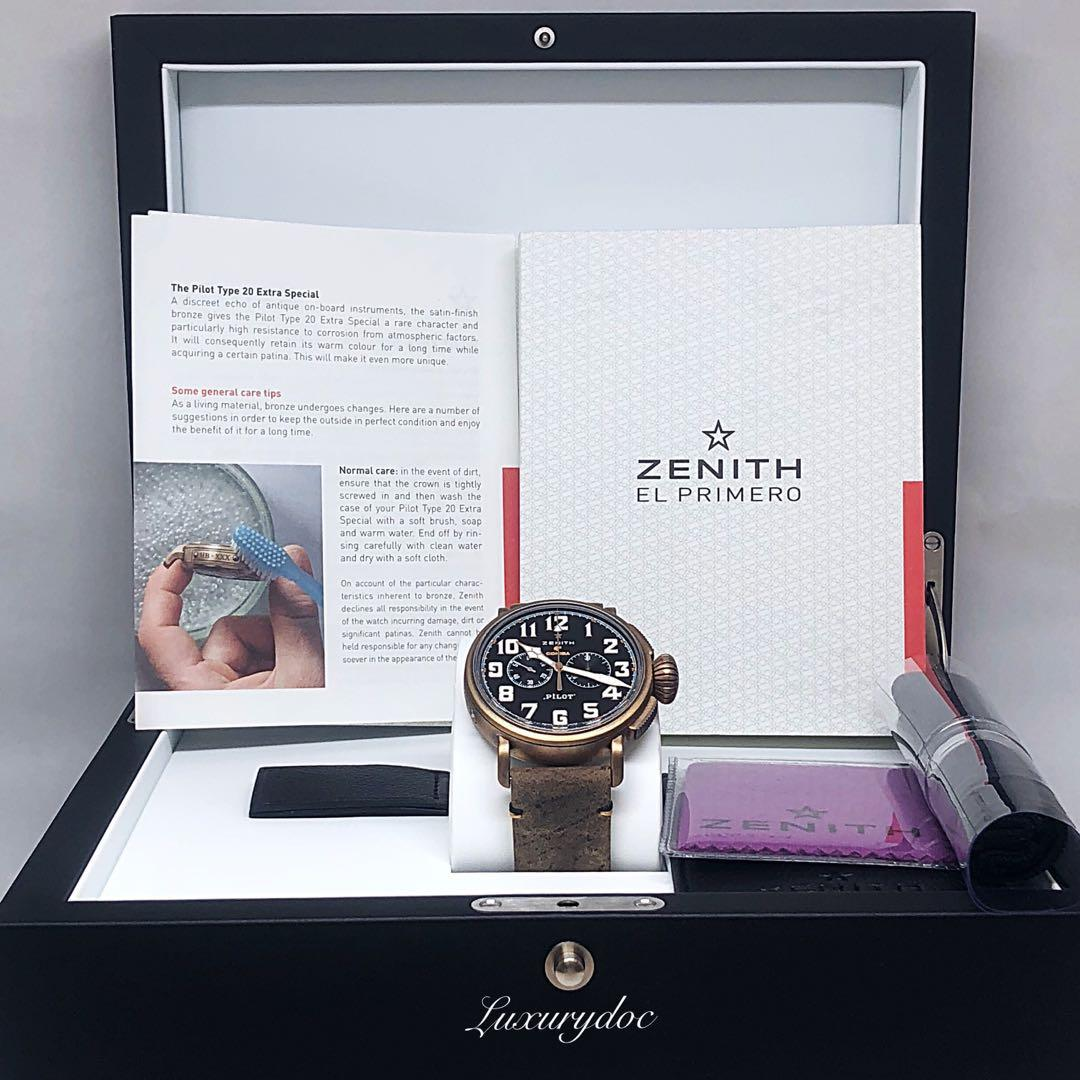 FS.BNIB ZENITH BRONZE PILOT TYPE 20 AUTOMATIC CHRONOGRAPH COHIBA LIMITED EDITION 150 PIECES 45MM WATCH 29.2432.4069/27.C794