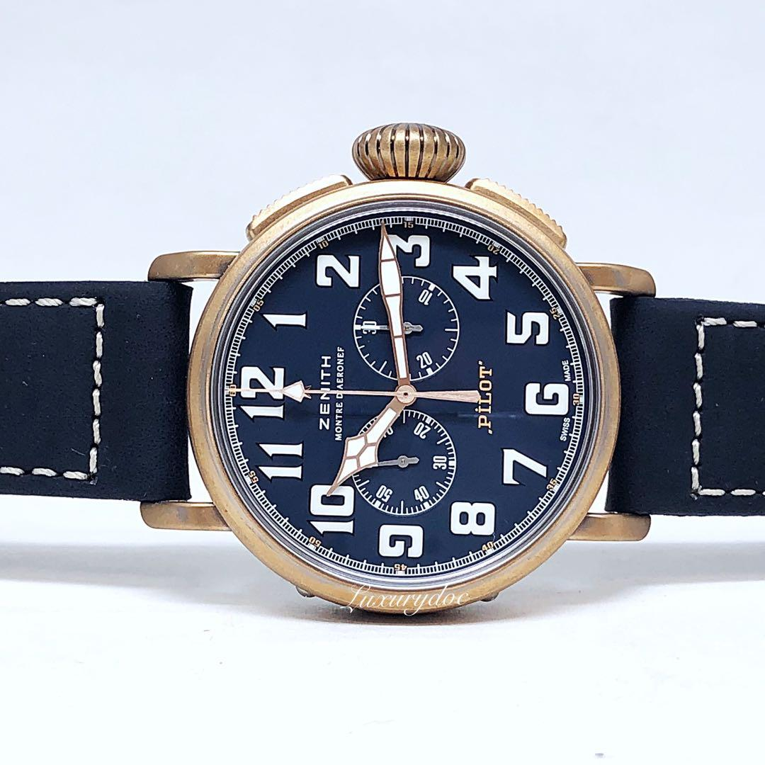 FS.BNIB ZENITH BRONZE PILOT TYPE 20 AUTOMATIC CHRONOGRAPH EXTRA SPECIAL BLUE DIAL 45MM WATCH 29.2430.4069/57.C808