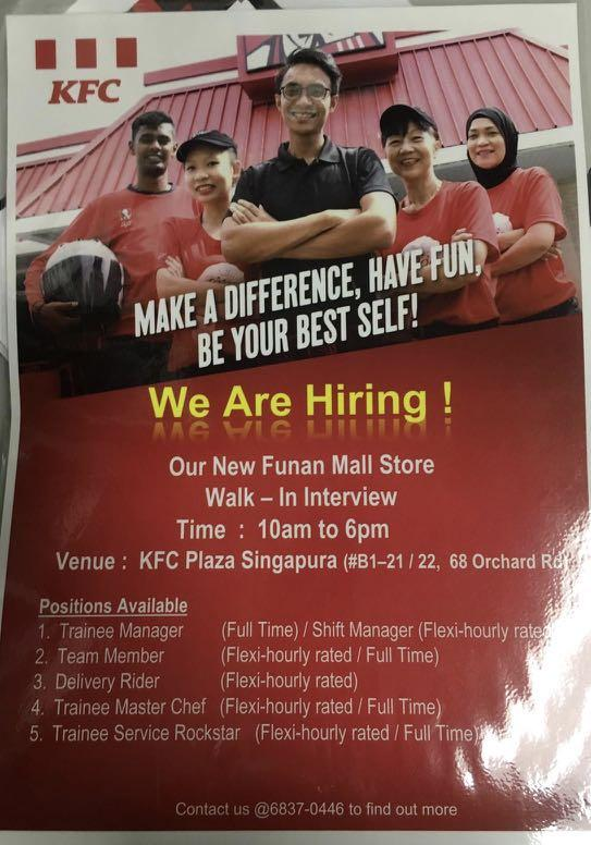 Full time and Part time Staff for KFC FUNAN MALL