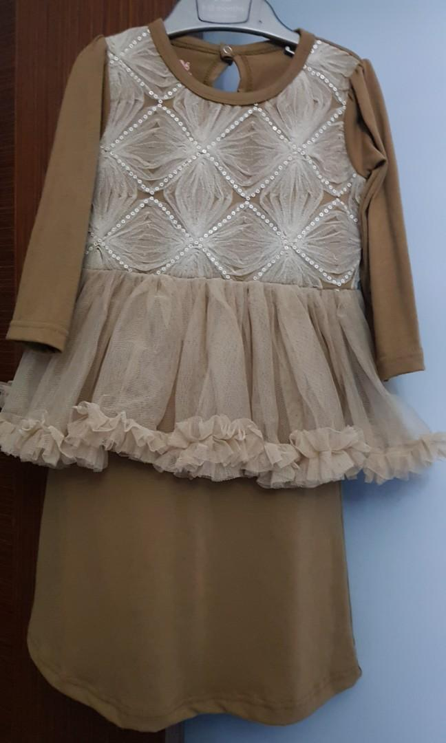Kids light brown dress