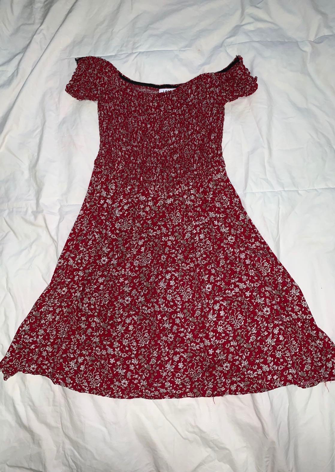 Lost Muse Bardot Red Floral Mini Dress - AU Size 10