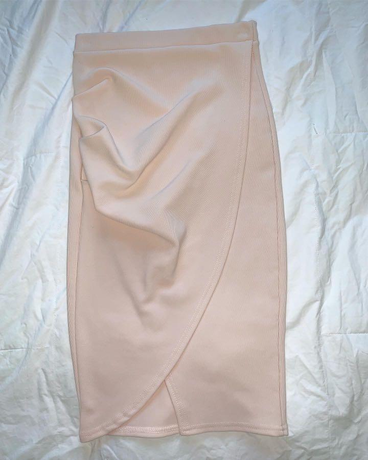 Missguided Asymmetric Ruched Side Midi Skirt in Nude - AU Size 6