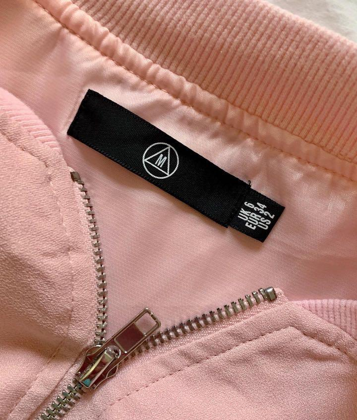 Missguided Satin Two Tone Bomber Jacket in Light Pink - AU Size 6