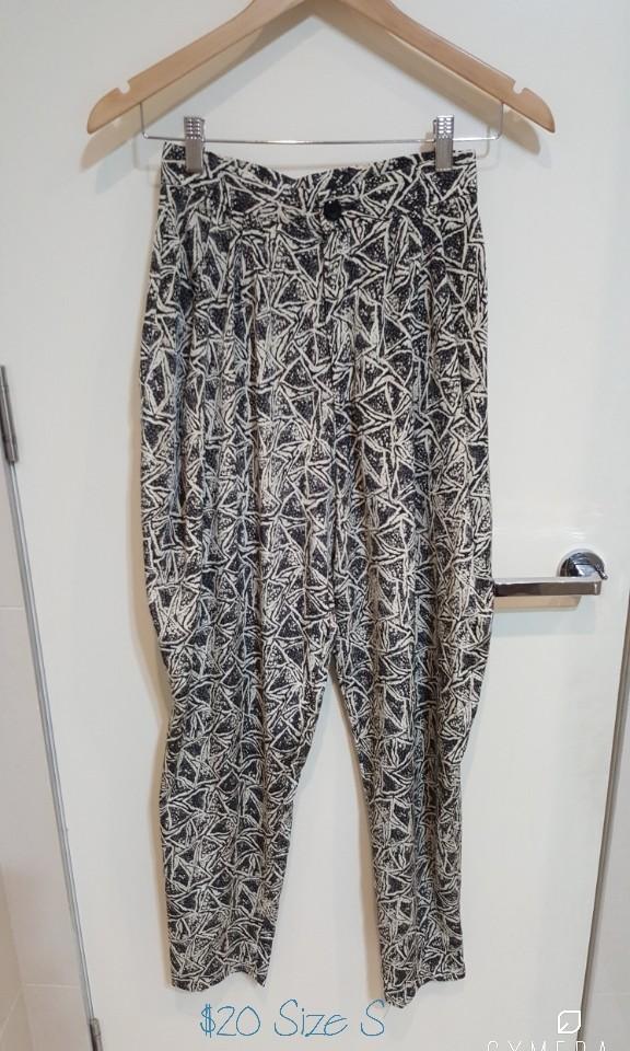 """""""MOODS"""" Vintage High Waisted Grey Patterned Harem Pants(Size S)"""