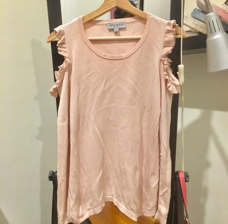 Pink Club Monaco-esque Cold Shoulder Knit Top/Jumper with Frills/Ruffles