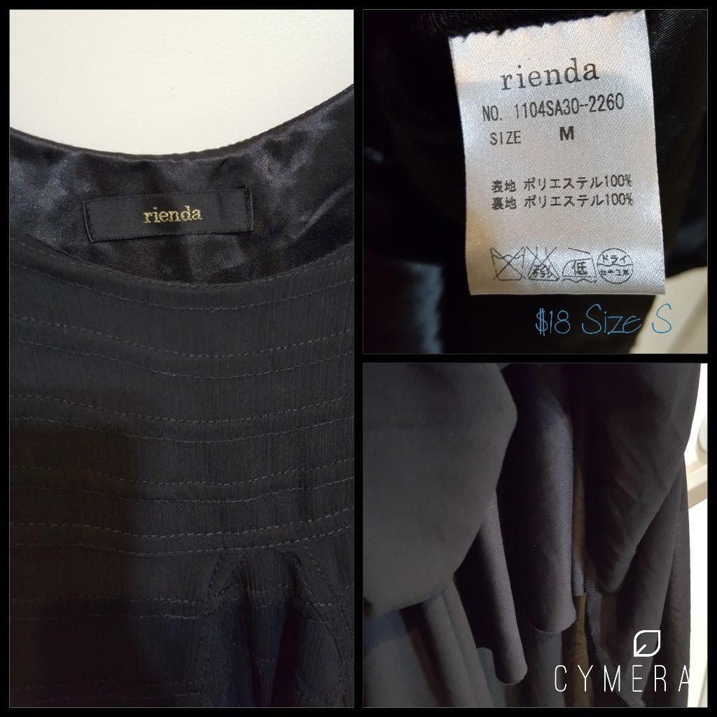 """Rienda"" Japanese Brand Sleeveless Short Black Dress (Size S)"