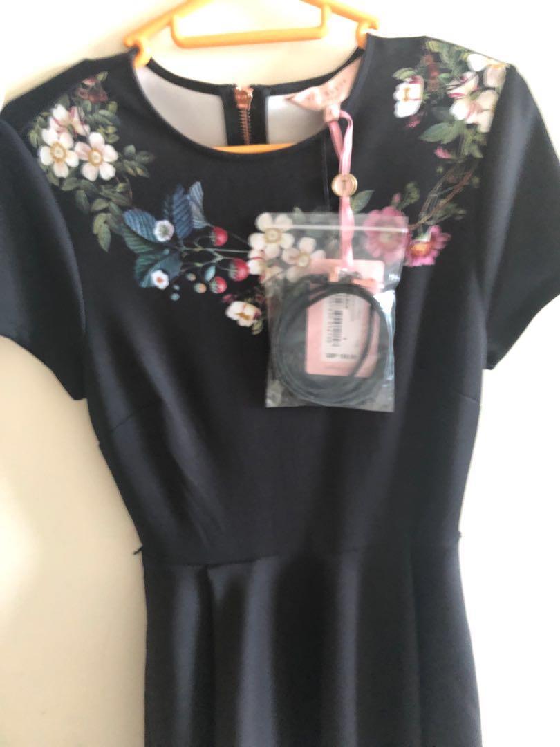 Sale! Ted Baker Black Floral Skater Dress