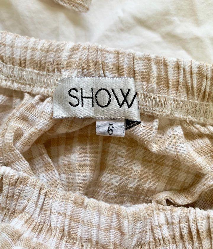 Showpo Clover Field Top in Mocha Check - AU Size 6