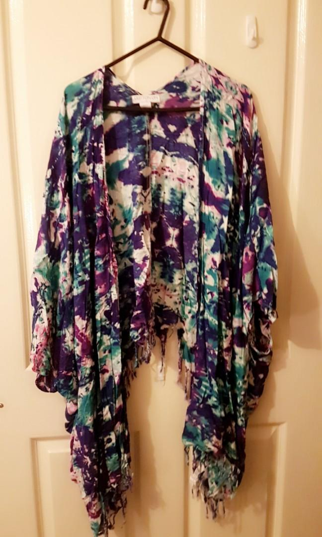 Tie dye blue and purple kimono