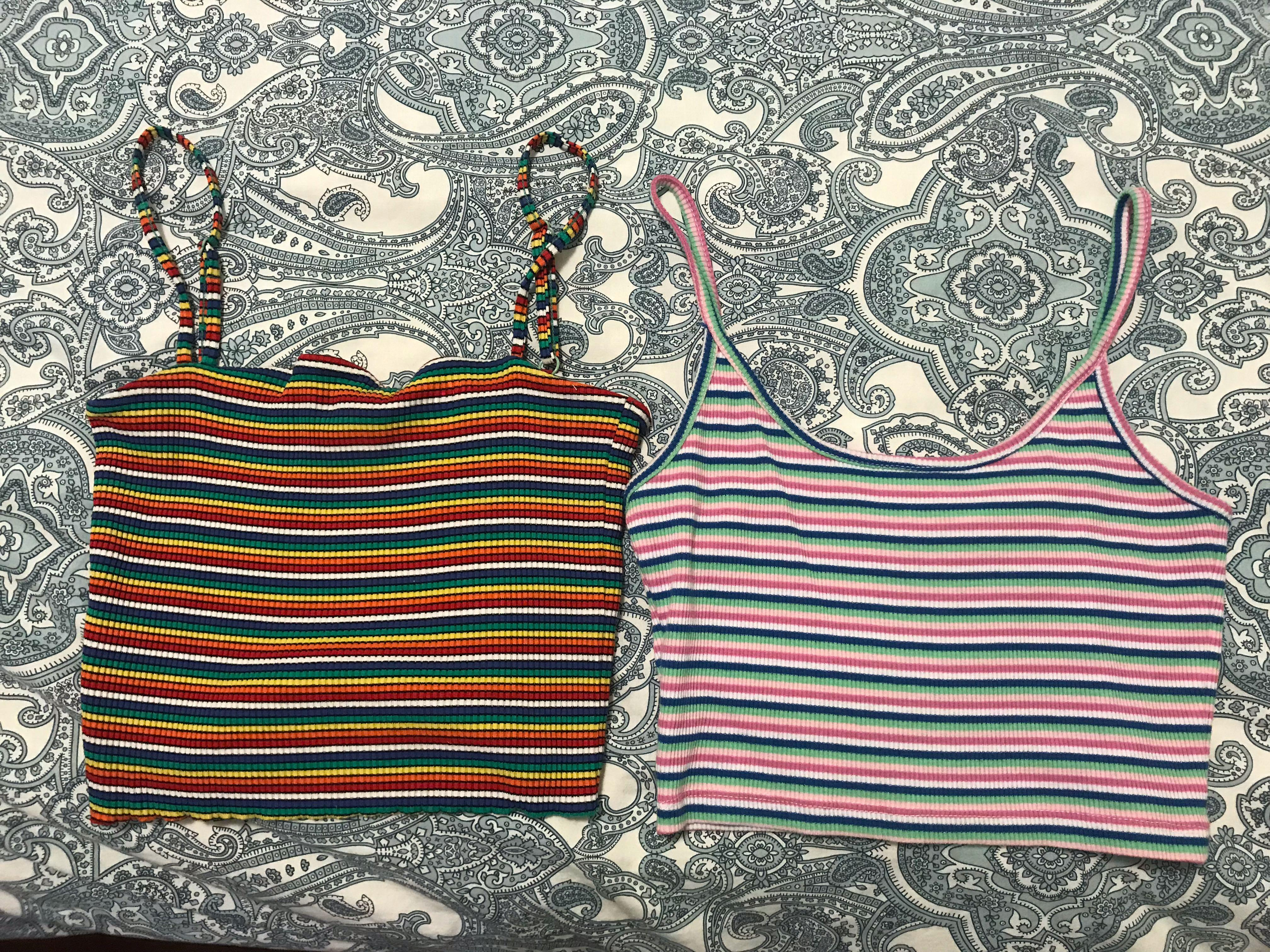 Two stripped crop tops