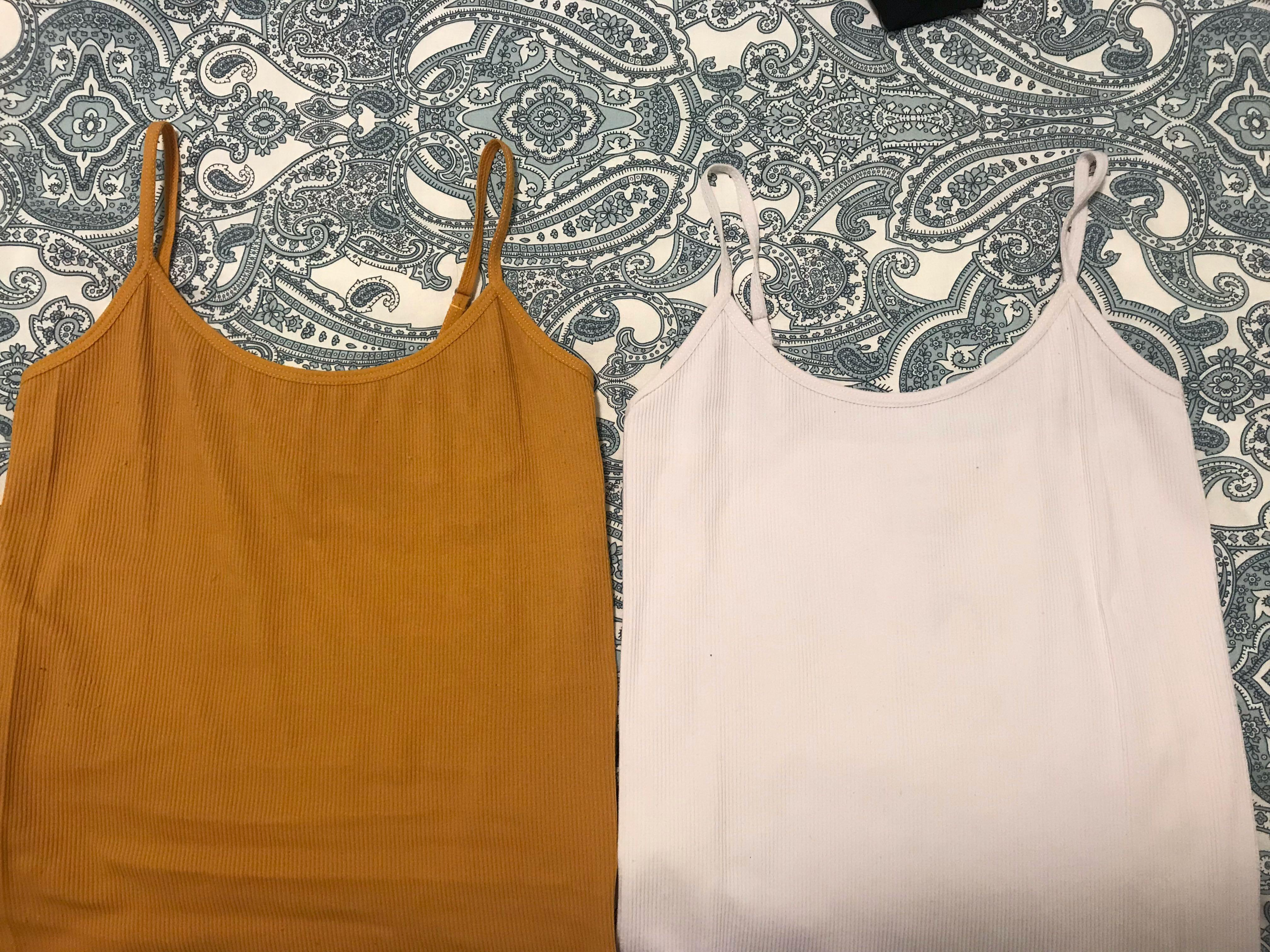 White and mustard tops