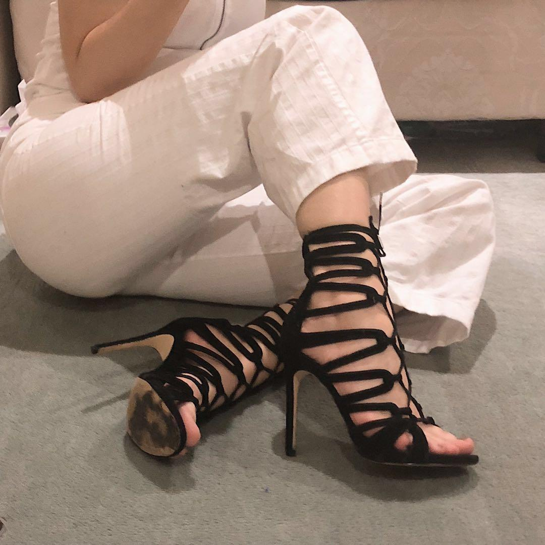 Windsor Smith Black Lace Up Heels