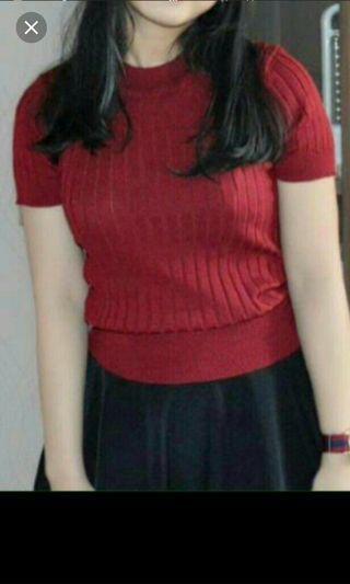baju rajut merah