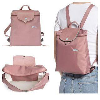 2019 Summer Collection Longchamp Le Pliage Backpack in Antique Pink