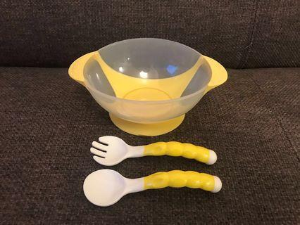 只用過一次 吸盤碗+彎彎餐具