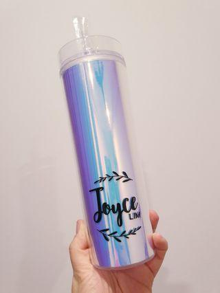 Personalised customised name holographic hologram reusable bottle tumbler straw gift ideas teacher's day children's day bubble tea Christmas