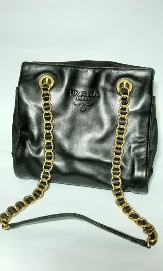 vintage prada genuine dark navy nappa leather chain shoulder tote bag with double chain straps