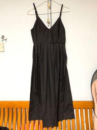 黑色 吊帶 百褶 連身裙 Dress