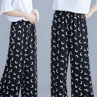Summer print high waist versatile casual pants