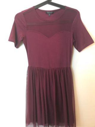 🚚 Maroon Tulle Dress