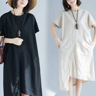 Plus Size Irregular Hem Dress Casual T-Shirt